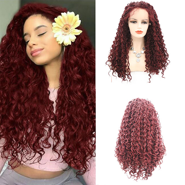 Synthetic Lace Front Wig Curly Afro Curly Free Part Lace Front Wig Burgundy Long Burgundy Synthetic Hair 18-26 inch Women's Cosplay Soft Adjustable Burgundy