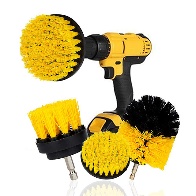 3pcs Electric Drill Brush Nylon Round Cleaning Brush For Bathtub Carpet Glass Tires Toilet Floors Rust Remover Car Cleaner Kit Drill NOT Include