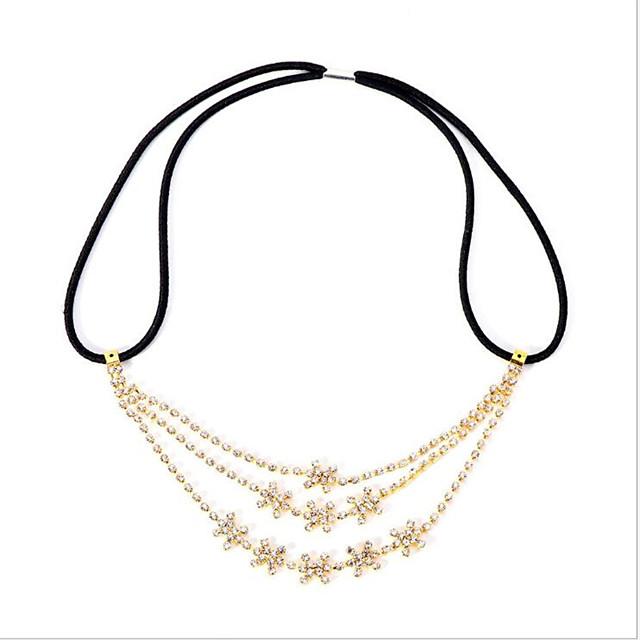 Women's Hair Jewelry For Gift Festival Flower Glitter Cubic Zirconia Cord Imitation Diamond Yellow 1pc