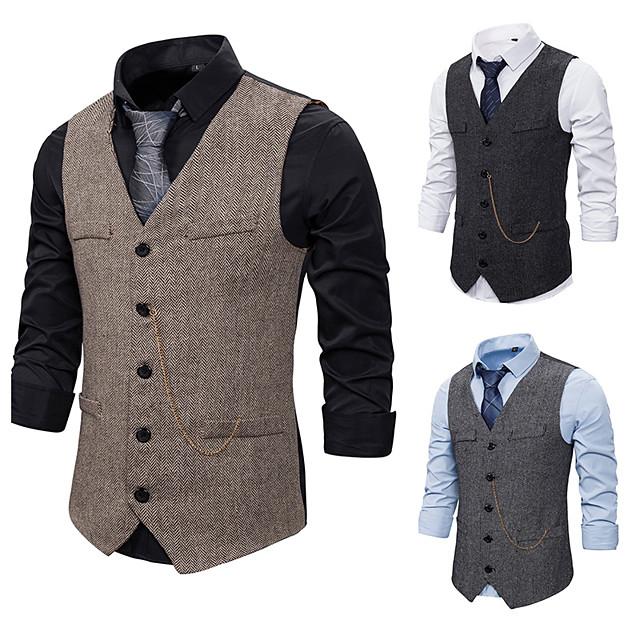 Gentleman Kingsman Vintage Masquerade Vest Waistcoat Men's Slim Fit Costume Black / Gray / Coffee Vintage Cosplay Event / Party Sleeveless