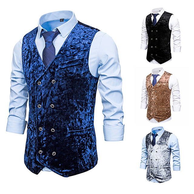 Plague Doctor Vintage Gothic Steampunk Masquerade Vest Waistcoat Men's Jacquard Costume Black / Navy Blue / Gray Vintage Cosplay Event / Party Sleeveless