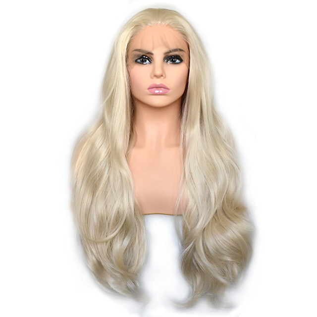 Light Golden Blonde Natural Wave Synthetic Lace Front Wig Heat Resistant Fiber Daily Wearing For Women
