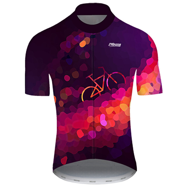 21Grams Men's Short Sleeve Cycling Jersey Nylon Polyester Violet Polka Dot 3D Gradient Bike Jersey Top Mountain Bike MTB Road Bike Cycling Breathable Quick Dry Ultraviolet Resistant Sports Clothing