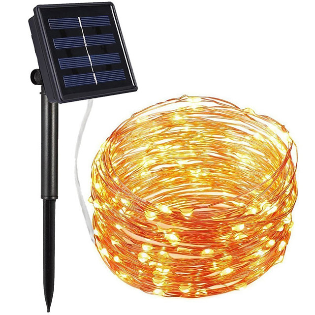 100 Led Solar String Lights Outdoor String Lights Waterproof Cooper Wire Light Lamp Christmas Holiday Lighting for Outdoor Garden Decor