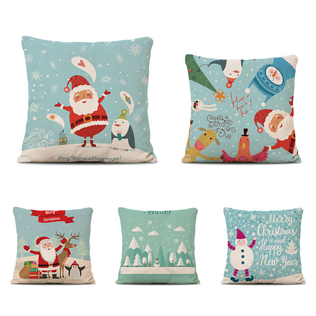 Set of 5 Linen Pillow Cover Special Design Cartoon Traditional Christmas Throw Pillow