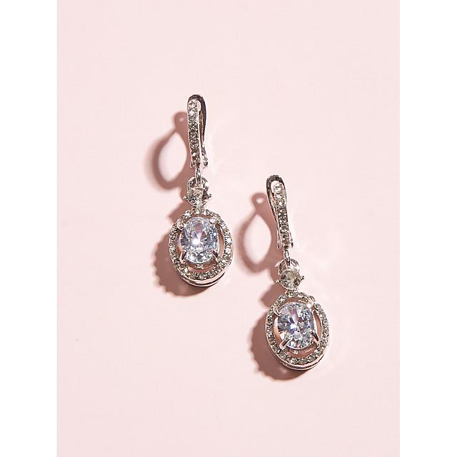 Women's Clear Crystal Earrings Pear Cut Drop Romantic Sweet Earrings Jewelry Silver For Wedding Party Festival 1 Pair