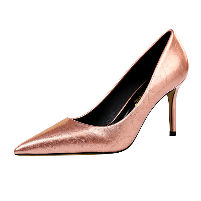 Women's Heels Fall / Winter Pumps Pointed Toe Sexy Party & Evening Flower Solid Colored Patent Leather White / Black / Yellow