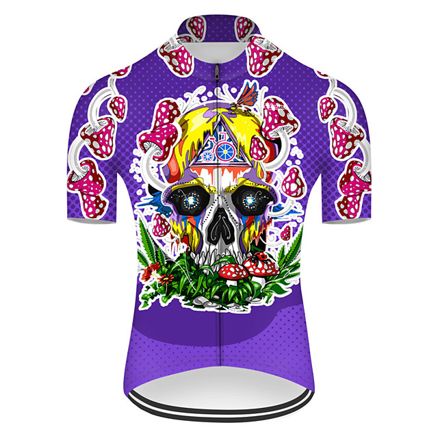 21Grams Men's Short Sleeve Cycling Jersey Nylon Polyester Violet Novelty Skull Floral Botanical Bike Jersey Top Mountain Bike MTB Road Bike Cycling Breathable Quick Dry Ultraviolet Resistant Sports