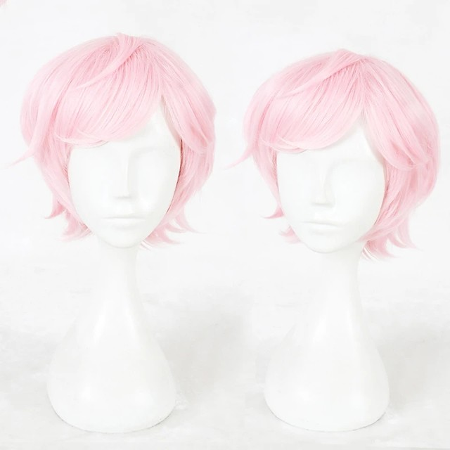 Cosplay Wig Sakisaka Muku Curly Cosplay Halloween With Bangs Wig Short Pink Synthetic Hair 14 inch Men's Anime Cosplay Party Pink