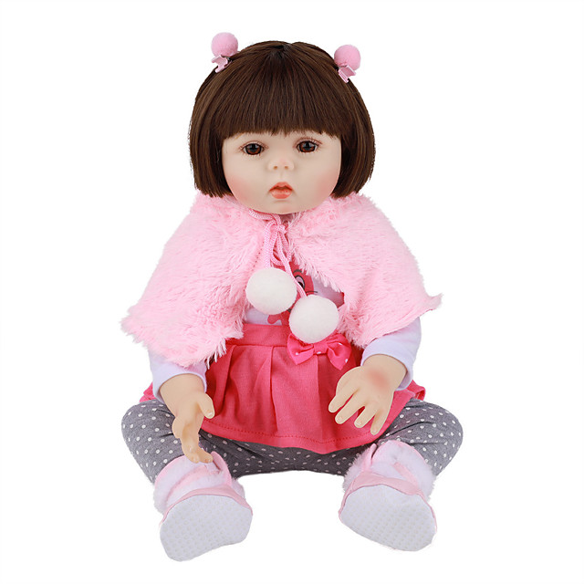 FeelWind 18 inch Reborn Doll Baby & Toddler Toy Reborn Toddler Doll Baby Girl Gift Cute Lovely Parent-Child Interaction Tipped and Sealed Nails Full Body Silicone LV027 with Clothes and Accessories