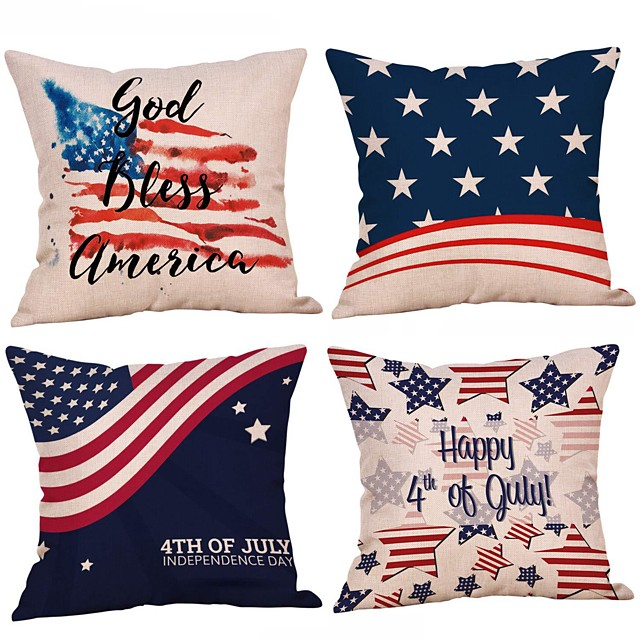 Set of 4 Independence Day Room Decoration Pillow Cover 4th Of July Pillow Cases Sofa Cushion Cover Home Pillow Case Pillow Covers