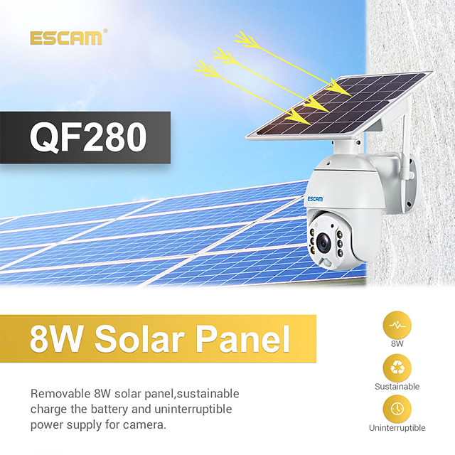 ESCAM QF280 1080P Cloud Storage PT WIFI Battery PIR Alarm IP Camera With Solar Panel Full Color Night Vision Two Way Audio IP66 With  Battery