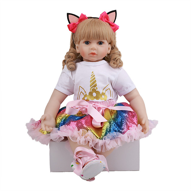 FeelWind 24 inch Reborn Doll Baby & Toddler Toy Reborn Toddler Doll Baby Girl Gift Cute Lovely Parent-Child Interaction Tipped and Sealed Nails 3/4 Silicone Limbs and Cotton Filled Body LV088 with