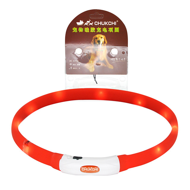 Dog Cat Pets Collar LED Lights Adjustable Size Rechargeable Fashion Decoration LED Lights Flashing Anti Lost Other Solid Colored Rubber Red Orange 1pc