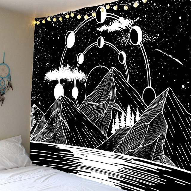 Home Living Tapestry Wall Hanging Tapestries Wall Blanket Wall Art Wall Decor Forest Black White Mountain Tapestry Wall Decor