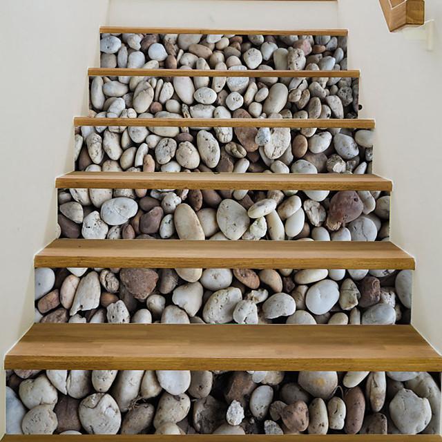 6pcs/set 3D Cobblestone Stair Riser Floor Sticker Self Adhesive DIY Stairway Waterproof PVC Wall Decal Home Decor