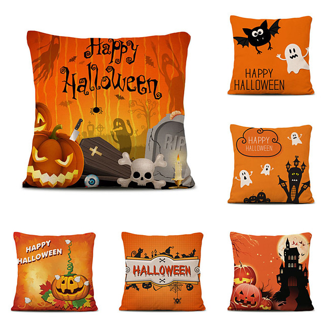 Set of 6 Halloween Night Linen Square Decorative Throw Pillow Cases Sofa Cushion Covers