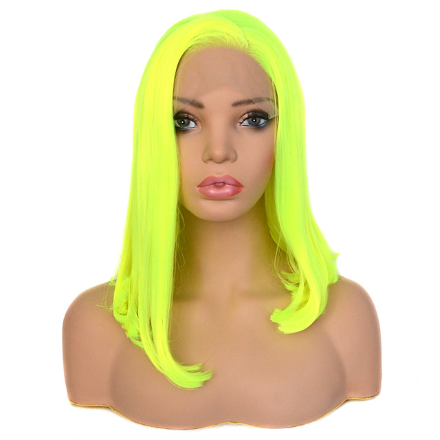 Vogue Queen Bright Yellow Green 14 Inch Straight Heat Resistant Fiber Synthetic Lace Front Wig Cosplay For Women