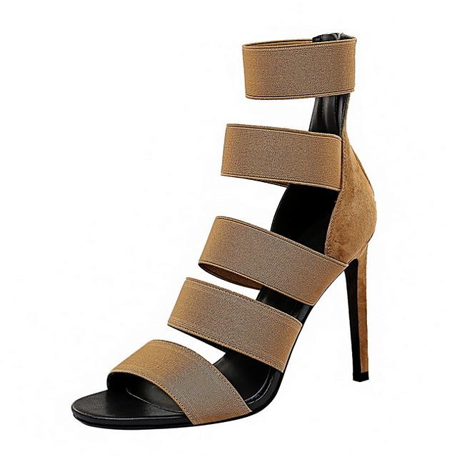 Women's Heels Summer Stiletto Heel Peep Toe Daily PU Black / Khaki / Gold