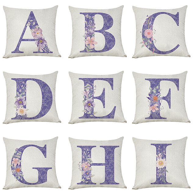 9 pcs Linen Pillow Cover, Floral English Character A-I Casual Modern Square Traditional Classic