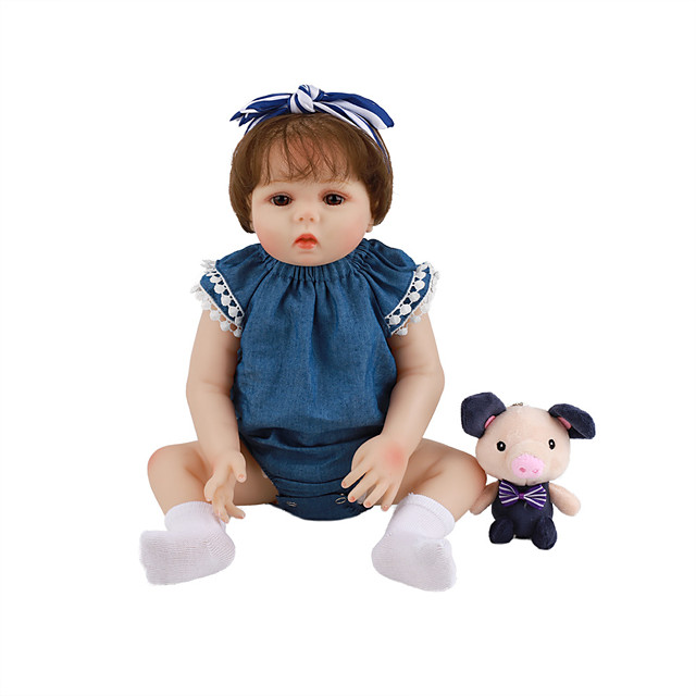 FeelWind 18 inch Reborn Doll Baby & Toddler Toy Reborn Toddler Doll Baby Girl Gift Cute Lovely Parent-Child Interaction Tipped and Sealed Nails Full Body Silicone LV006 with Clothes and Accessories