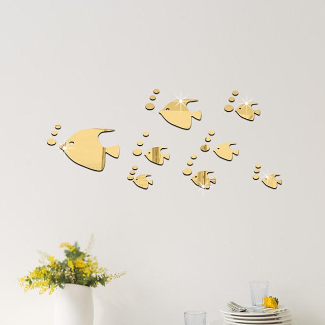 32PCS Fish Acrylic 3D Mirror Wall Stickers Decorative For Kid