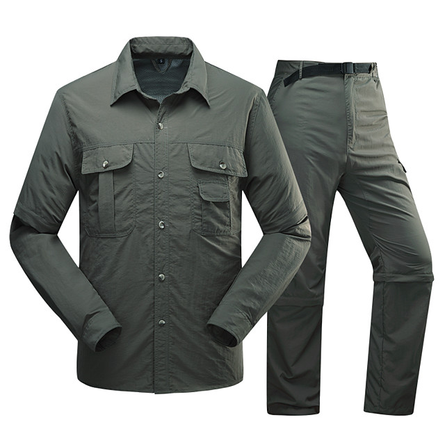 Men's Hiking Shirt with Pants Summer Outdoor Solid Color Waterproof Breathable Quick Dry Sweat-wicking Clothing Suit Camping / Hiking Hunting Climbing Army Green / Khaki / Light Blue