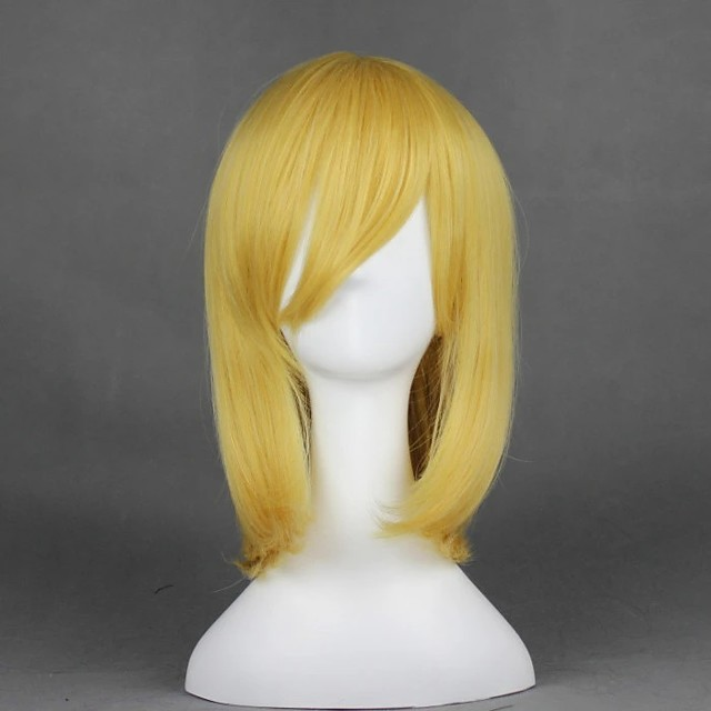 Cosplay Costume Wig Cosplay Wig Alice Margatroid TouHou Project Straight Cosplay Halloween With Bangs Wig Blonde Medium Length Blonde Synthetic Hair 18 inch Women's Anime Cosplay Easy to Carry Blonde
