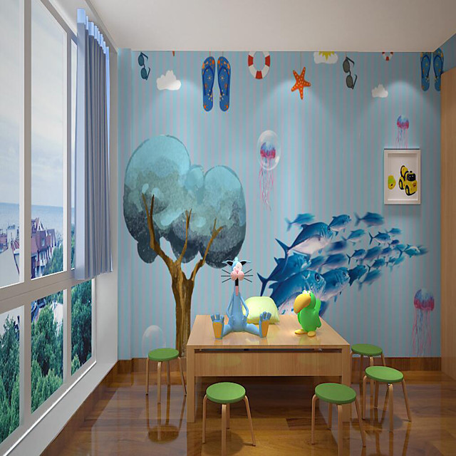 Custom Self Adhesive Mural Wallpaper Fish Children Cartoon Style Suitable For Bedroom Home Decor  Wall Cloth Room Wallcovering