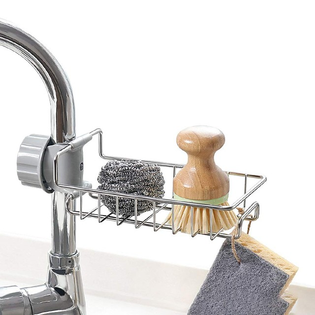 Stainless Steel Kitchen Sponge Holder Soap Dishwashing Liquid Drainer Rack Faucet Storage Drain Basket For Bathroom Sink