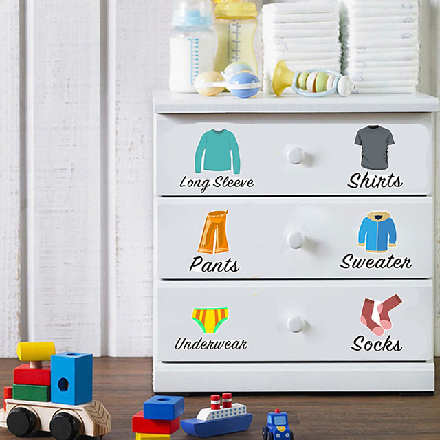 Wall Stickers Cartoon Clothing Classification Wardrobe Plane Wall Stickers Decorative Wall Stickers PVC Home Decoration Wall Decal Wall Window Decoration 1pc