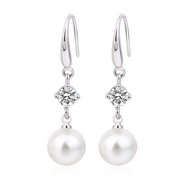 Women's Cubic Zirconia Earrings Retro Precious Imitation Pearl Earrings Jewelry Silver For Wedding Party Bar Festival 1 Pair