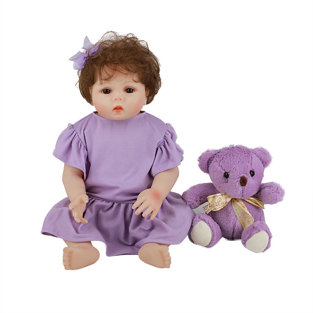FeelWind 18 inch Reborn Doll Baby & Toddler Toy Reborn Toddler Doll Baby Girl Gift Cute Lovely Parent-Child Interaction Tipped and Sealed Nails Full Body Silicone LV056 with Clothes and Accessories