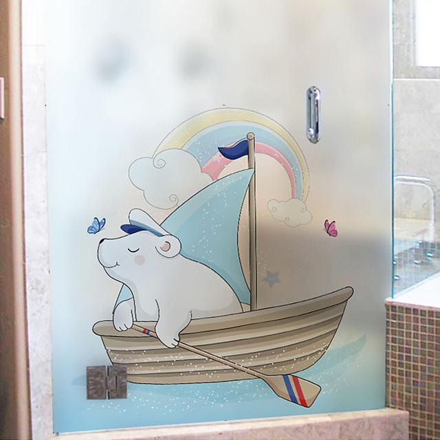 Cartoon Bear Pattern Matte Window Sticker Bathroom Kitchen Kids Room Shop Living Room Bedroom Balcony Window Film 60*58cm