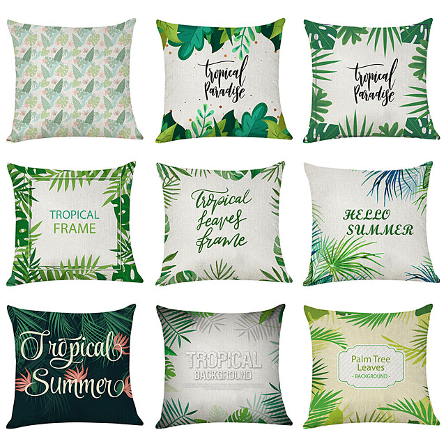 9 pcs Linen Pillow Cover, Tropical Summer Casual Modern Square Traditional Classic