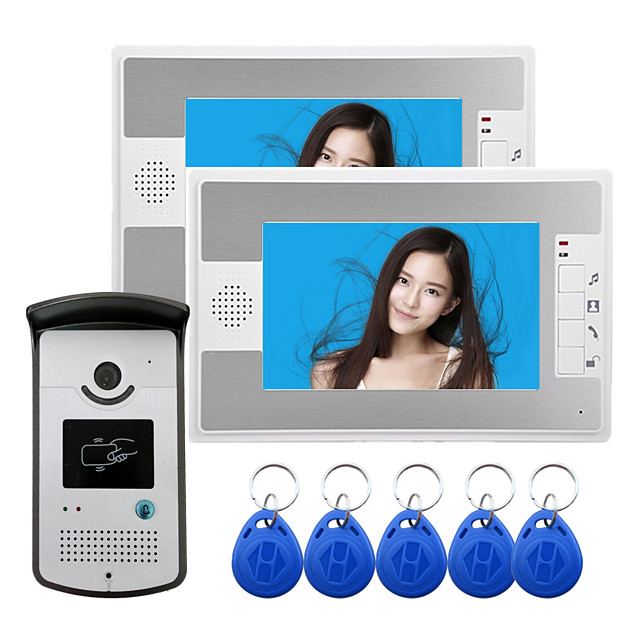 Wired 7 Inch Hands-free 800*480 Pixel One To One Video Doorphone with RFID Unlock