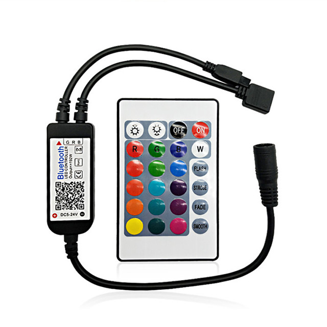 ZDM Bluetooth LED Smart Controller Working with Android and IOS System Free App for RGB LED Light  Comes With 24 Keys IR Remote Control DC5V-24V