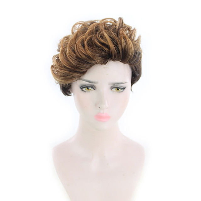 Synthetic Wig Curly Pixie Cut Wig Short Light Blonde Synthetic Hair 12 inch Women's Simple Fashionable Design Classic Blonde
