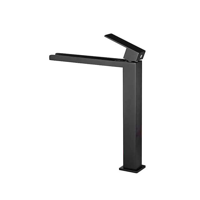 Bathroom Sink Faucet - Tall Black Waterfall Vanity Vessel Sink Basin Faucet Painted Finishes Centerset Single Handle One Hole Bath Taps Deck Mounted Hot and Cold Washbasin Mixer Tap