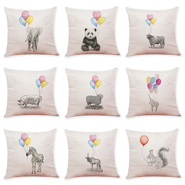 9 pcs Linen Pillow Cover, Animal Leisure Modern Square Traditional Classic