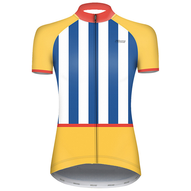 21Grams Women's Short Sleeve Cycling Jersey Nylon Polyester Blue+Yellow Stripes Patchwork Bike Jersey Top Mountain Bike MTB Road Bike Cycling Breathable Quick Dry Ultraviolet Resistant Sports