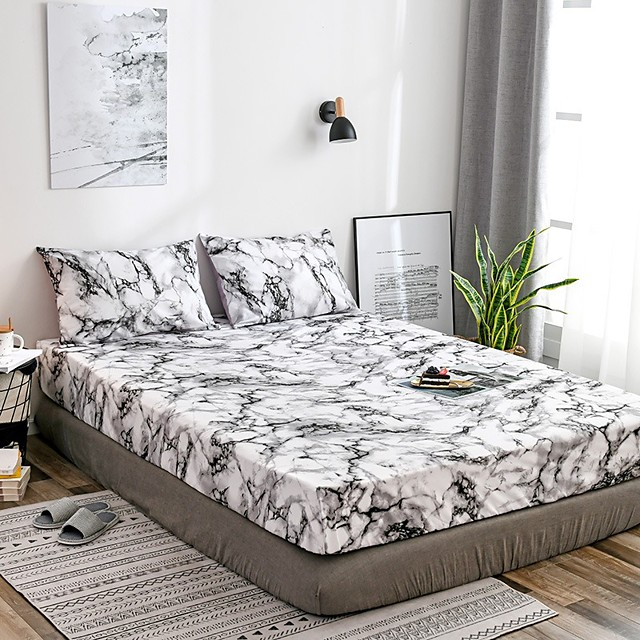 White Marble Fitted Sheet Bedding Soft Microfiber Sheets White Marble Pattern Soft Hypo-allergenic Wrinkle Resistant Durable Deep Pocket Bedding Bottom Sheet Single/Full/Queen/King