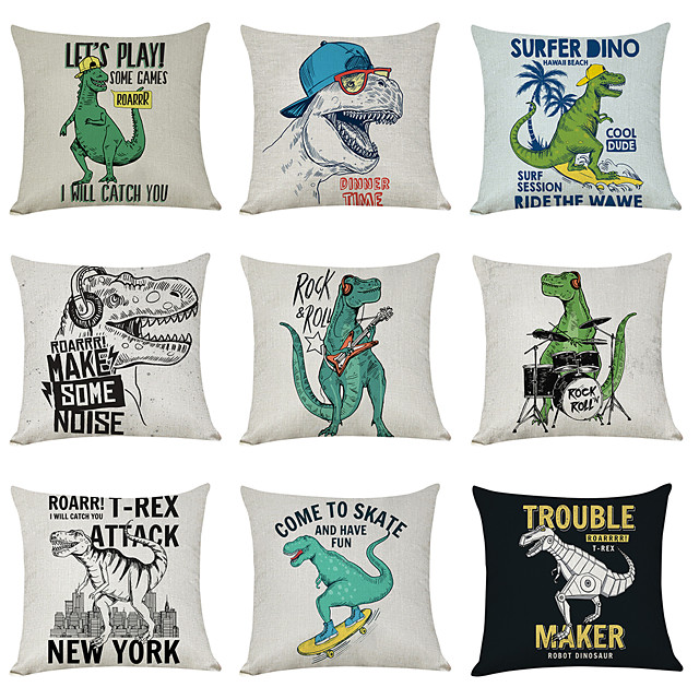 9 pcs Linen Pillow Cover, Dinosaur JurassicCasual Modern Square Traditional Classic