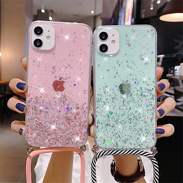Sparkle Glitter Strap Cord Chain Phone Necklace Lanyard Phone Case Carry Cover Hang For iPhone SE 2020  11 11 Pro 11Pro Max XS XS Max XR X 7Plus 8Plus 8 7 6Plus 6 6s 6sPlus