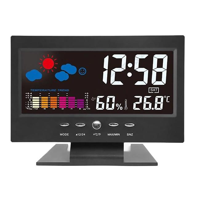 Digital Alarm Clock Temperature Humidity Alarm Clock 8082T Plastic Temp Weather Date Creative Portable