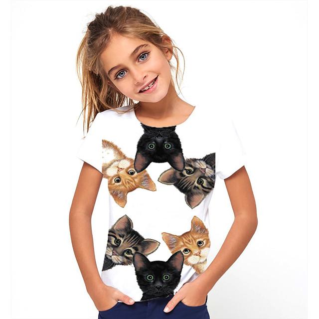Barn Flickor T-shirt Kortärmad Katt Djur Tryck Vit Barn Blast Grundläggande söt stil