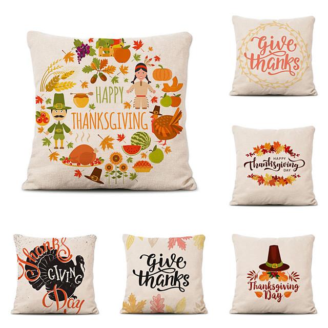 Set of 6 Farm Harvest Thanksgiving Theme Pillow Case Cushion Cover Lemon Summer Linen Home