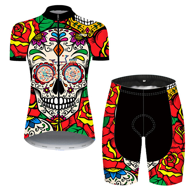 21Grams Women's Short Sleeve Cycling Jersey with Shorts Nylon Polyester Black / Red Skull Floral Botanical Rose Bike Clothing Suit Breathable 3D Pad Quick Dry Ultraviolet Resistant Reflective Strips