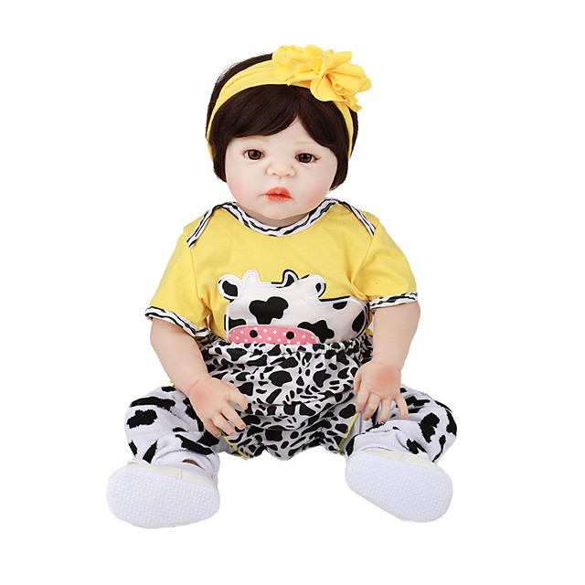FeelWind 22 inch Reborn Doll Baby & Toddler Toy Reborn Toddler Doll Baby Girl Gift Cute Lovely Parent-Child Interaction Tipped and Sealed Nails Full Body Silicone with Clothes and Accessories for