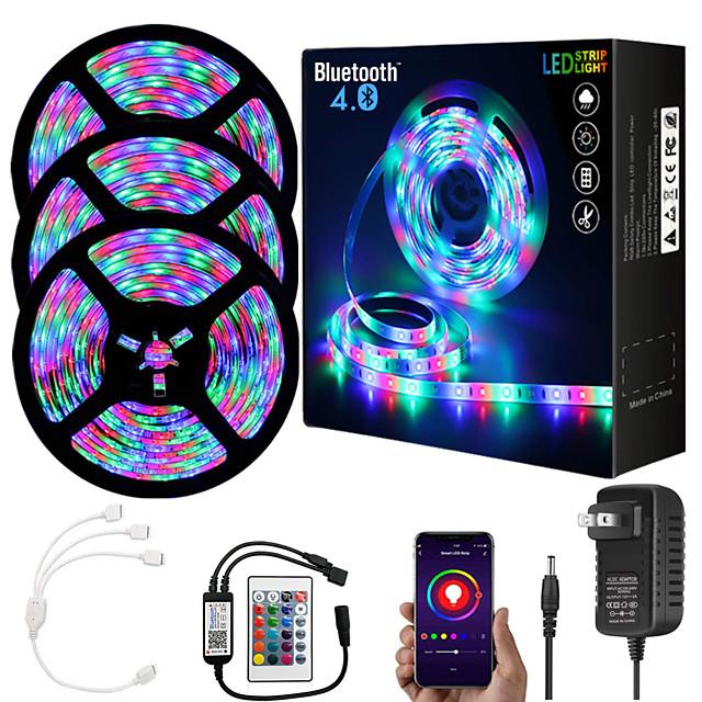 15M (3*5M) App Intelligent Control Bluetooth Music Sync Flexible Led Strip Lights 2835 RGB SMD 540 LEDs IR 24 Key Bluetooth Controller with 12V 3A Adapter Kit